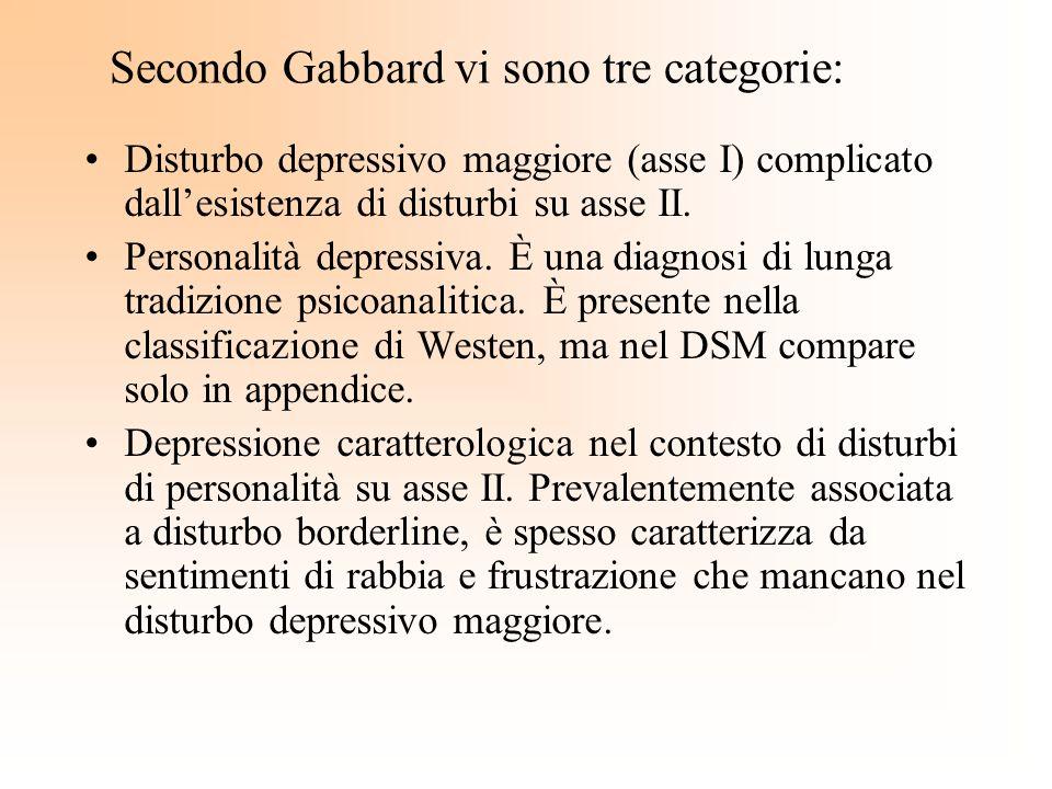 Secondo Gabbard vi sono tre categorie: Disturbo depressivo maggiore (asse I) complicato dallesistenza di disturbi su asse II. Personalità depressiva.