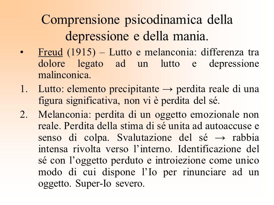 Comprensione psicodinamica della depressione e della mania. Freud (1915) – Lutto e melanconia: differenza tra dolore legato ad un lutto e depressione