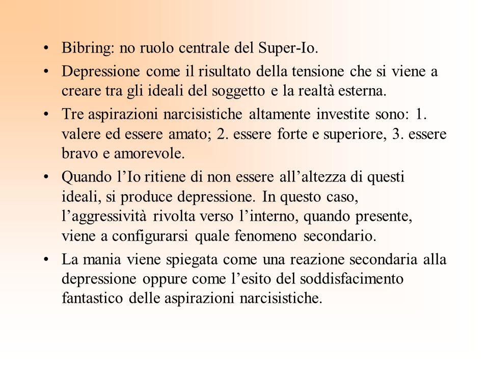 Bibring: no ruolo centrale del Super-Io. Depressione come il risultato della tensione che si viene a creare tra gli ideali del soggetto e la realtà es