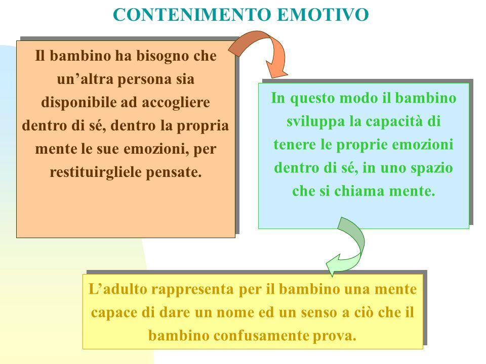 In questo modo il bambino sviluppa la capacità di tenere le proprie emozioni dentro di sé, in uno spazio che si chiama mente. Il bambino ha bisogno ch