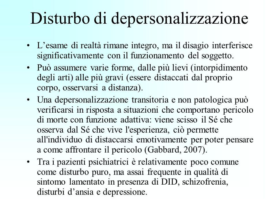Disturbo di depersonalizzazione Lesame di realtà rimane integro, ma il disagio interferisce significativamente con il funzionamento del soggetto. Può