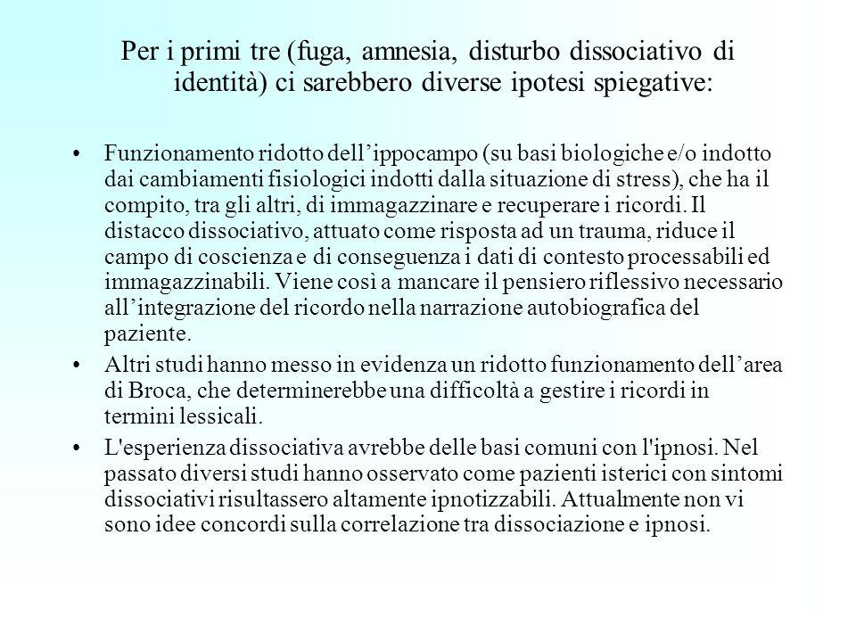 Per i primi tre (fuga, amnesia, disturbo dissociativo di identità) ci sarebbero diverse ipotesi spiegative: Funzionamento ridotto dellippocampo (su ba