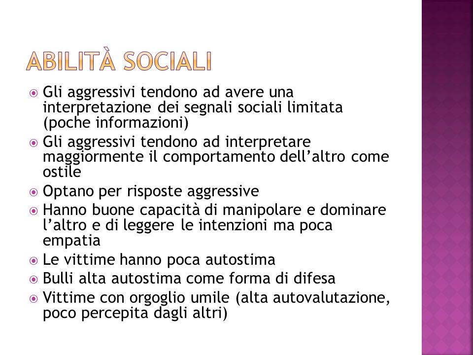 Gli aggressivi tendono ad avere una interpretazione dei segnali sociali limitata (poche informazioni) Gli aggressivi tendono ad interpretare maggiorme
