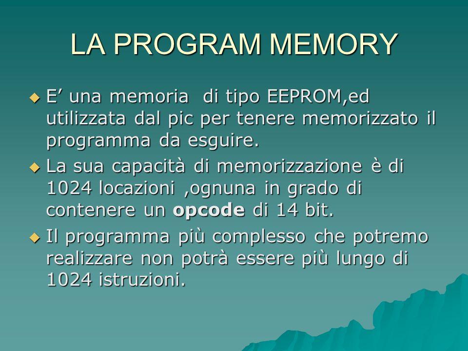 LA PROGRAM MEMORY E una memoria di tipo EEPROM,ed utilizzata dal pic per tenere memorizzato il programma da esguire. E una memoria di tipo EEPROM,ed u