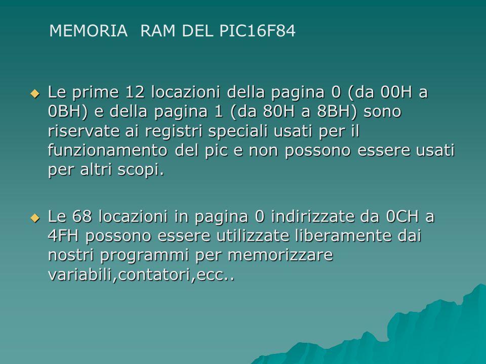 Le prime 12 locazioni della pagina 0 (da 00H a 0BH) e della pagina 1 (da 80H a 8BH) sono riservate ai registri speciali usati per il funzionamento del