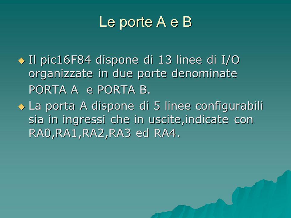Le porte A e B Il pic16F84 dispone di 13 linee di I/O organizzate in due porte denominate Il pic16F84 dispone di 13 linee di I/O organizzate in due po