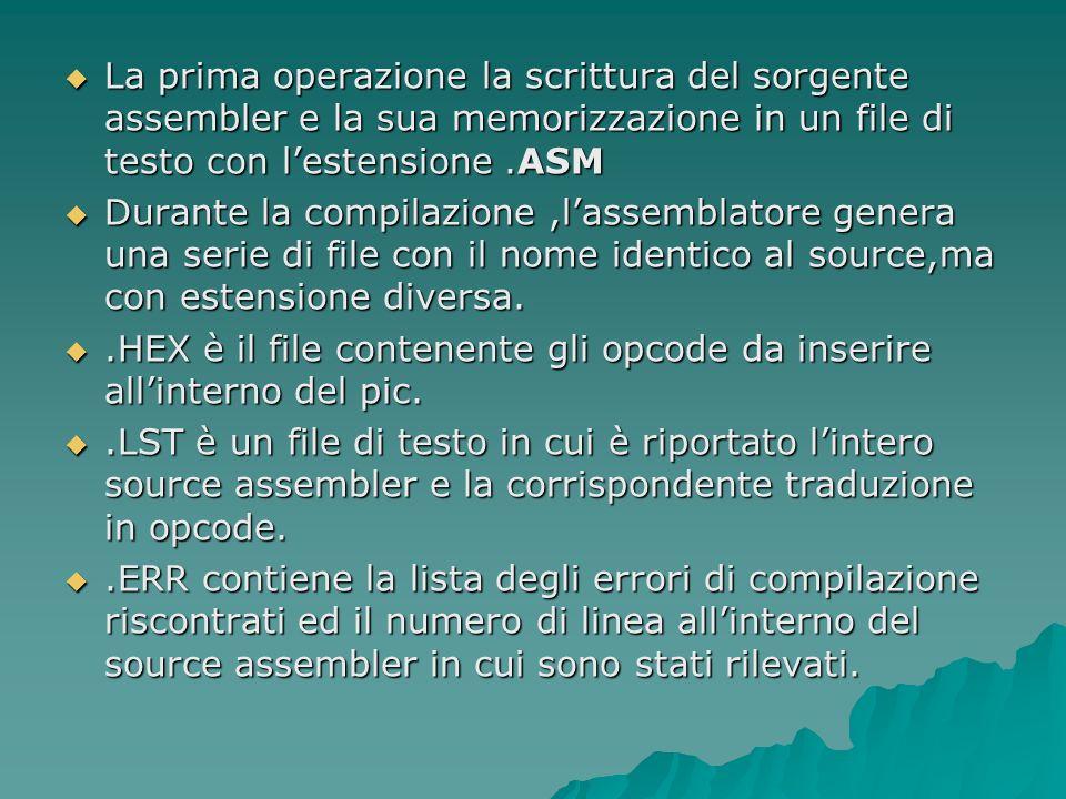 La prima operazione la scrittura del sorgente assembler e la sua memorizzazione in un file di testo con lestensione.ASM La prima operazione la scrittu