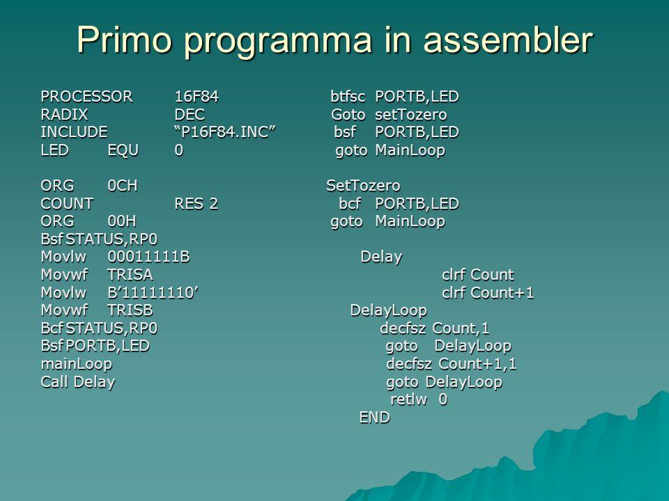 Primo programma in assembler PROCESSOR16F84 btfscPORTB,LED RADIXDEC GotosetTozero INCLUDEP16F84.INC bsfPORTB,LED LEDEQU0 gotoMainLoop ORG0CH SetTozero