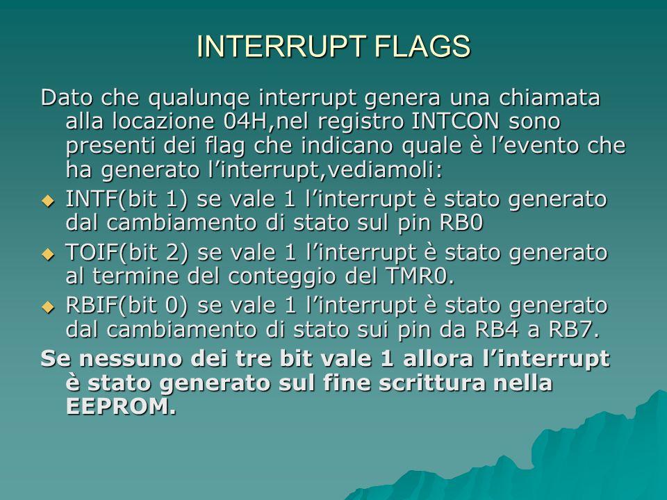 INTERRUPT FLAGS Dato che qualunqe interrupt genera una chiamata alla locazione 04H,nel registro INTCON sono presenti dei flag che indicano quale è lev