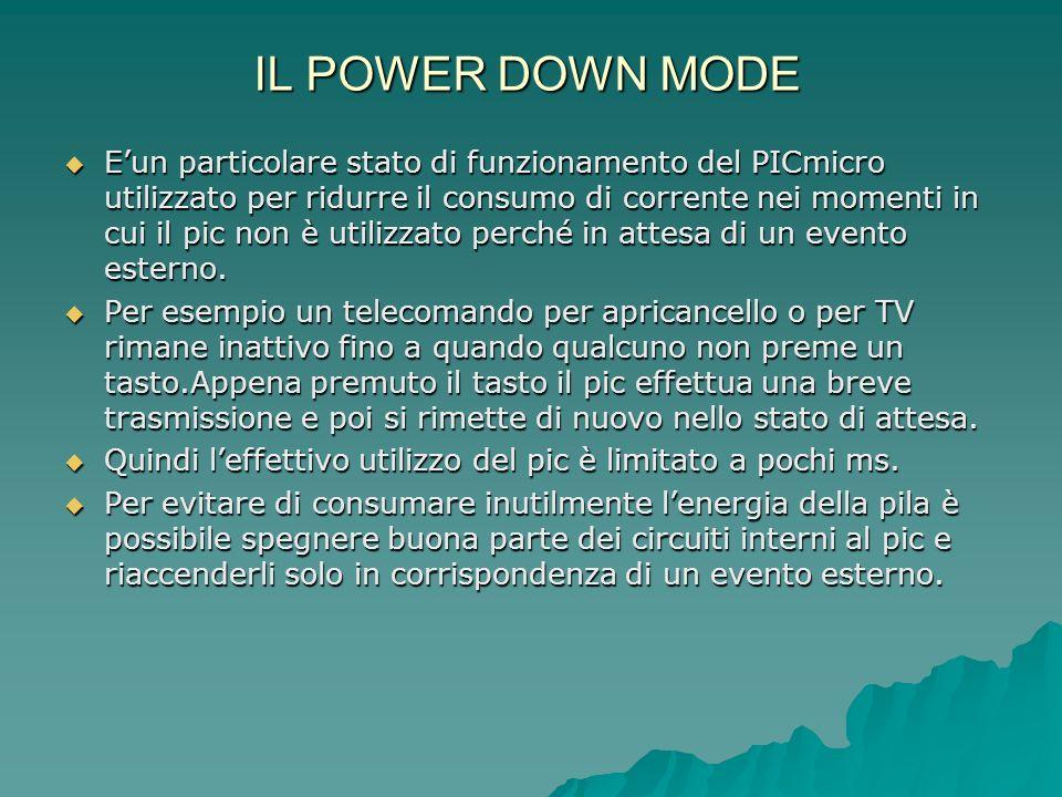 IL POWER DOWN MODE Eun particolare stato di funzionamento del PICmicro utilizzato per ridurre il consumo di corrente nei momenti in cui il pic non è u