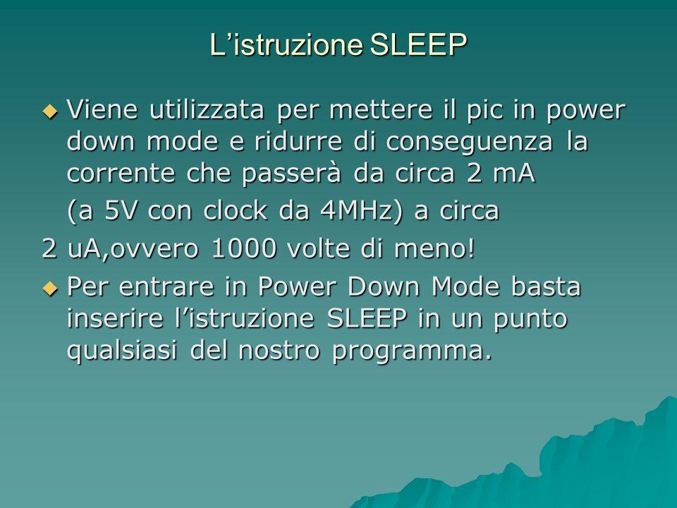 Listruzione SLEEP Viene utilizzata per mettere il pic in power down mode e ridurre di conseguenza la corrente che passerà da circa 2 mA Viene utilizza