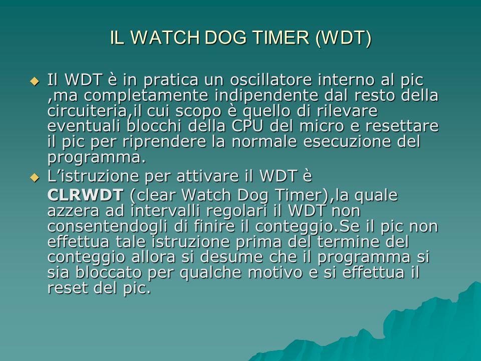 IL WATCH DOG TIMER (WDT) Il WDT è in pratica un oscillatore interno al pic,ma completamente indipendente dal resto della circuiteria,il cui scopo è qu