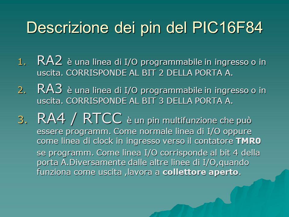 Descrizione dei pin del PIC16F84 1. RA2 è una linea di I/O programmabile in ingresso o in uscita. CORRISPONDE AL BIT 2 DELLA PORTA A. 2. RA3 è una lin