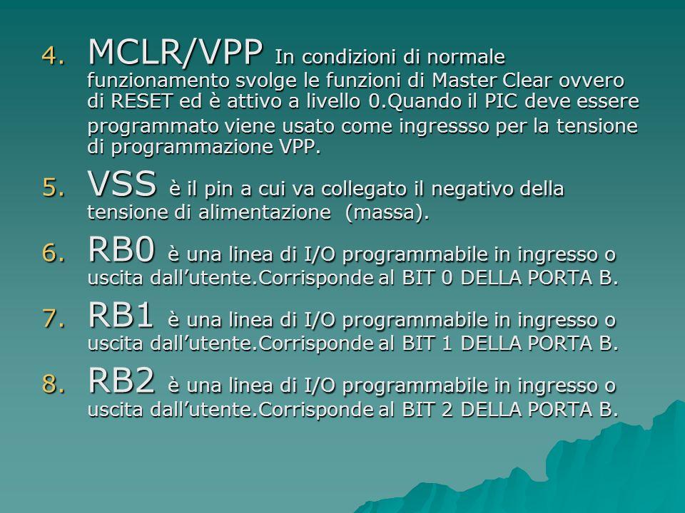 4. MCLR/VPP In condizioni di normale funzionamento svolge le funzioni di Master Clear ovvero di RESET ed è attivo a livello 0.Quando il PIC deve esser
