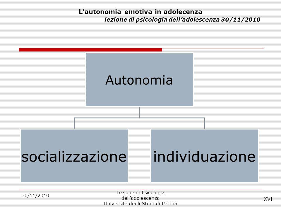 30/11/2010 Lezione di Psicologia delladolescenza Università degli Studi di Parma Lautonomia emotiva in adolecenza lezione di psicologia delladolescenz