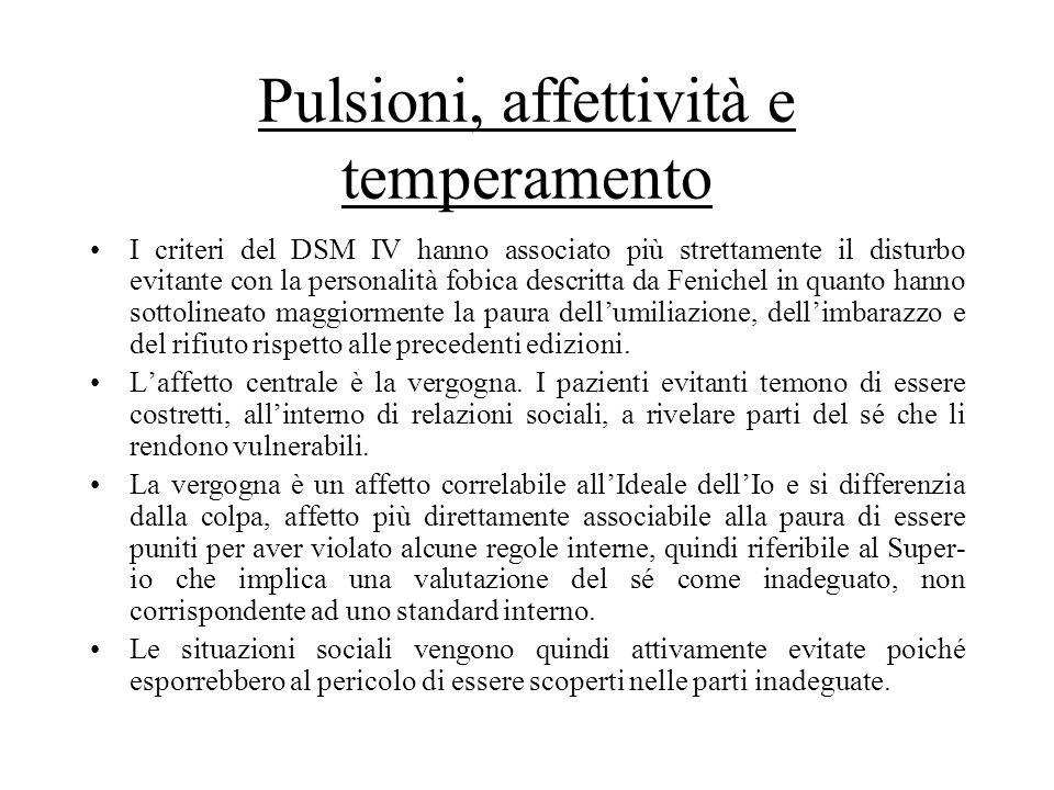 Pulsioni, affettività e temperamento I criteri del DSM IV hanno associato più strettamente il disturbo evitante con la personalità fobica descritta da