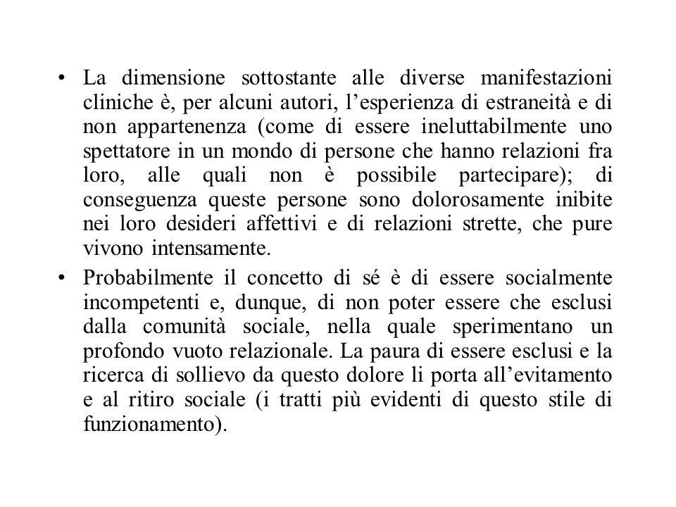 La dimensione sottostante alle diverse manifestazioni cliniche è, per alcuni autori, lesperienza di estraneità e di non appartenenza (come di essere i