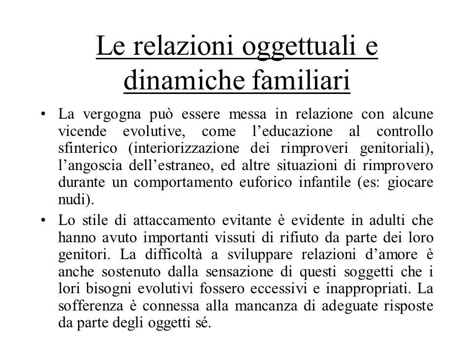 Le relazioni oggettuali e dinamiche familiari La vergogna può essere messa in relazione con alcune vicende evolutive, come leducazione al controllo sf