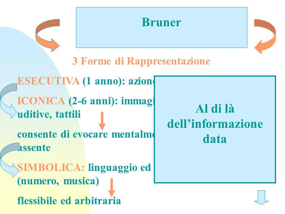 Bruner 3 Forme di Rappresentazione ESECUTIVA (1 anno): azione ICONICA (2-6 anni): immagini visive, olfattive, uditive, tattili consente di evocare men