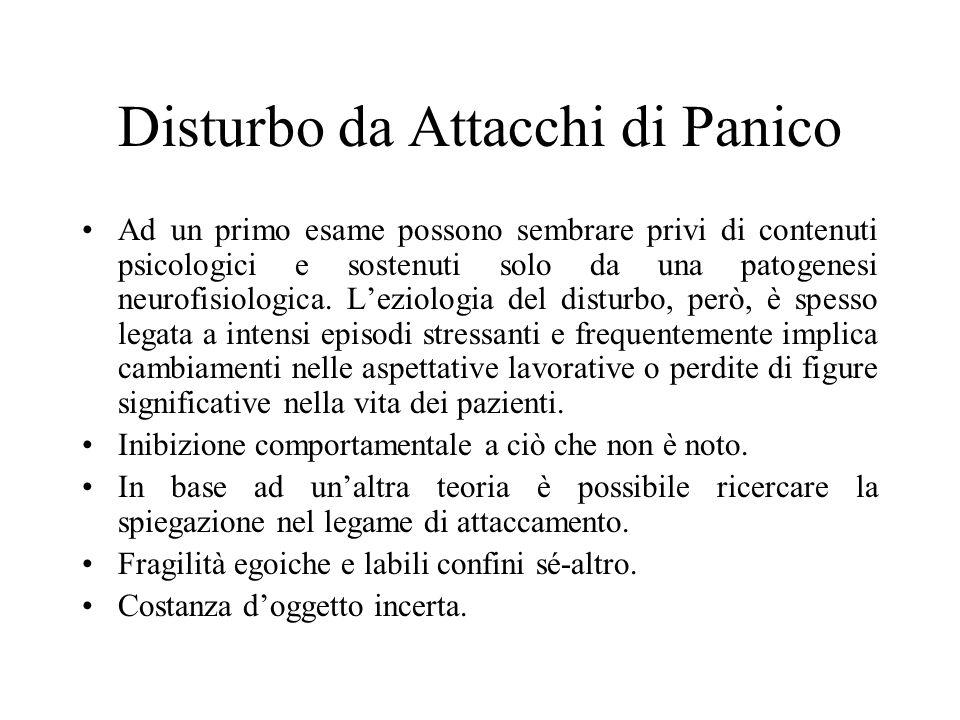 Disturbo da Attacchi di Panico Ad un primo esame possono sembrare privi di contenuti psicologici e sostenuti solo da una patogenesi neurofisiologica.