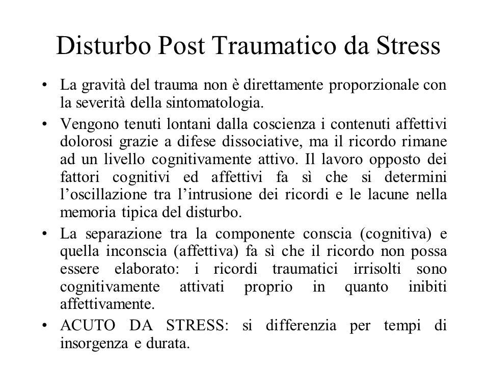 Disturbo Post Traumatico da Stress La gravità del trauma non è direttamente proporzionale con la severità della sintomatologia. Vengono tenuti lontani