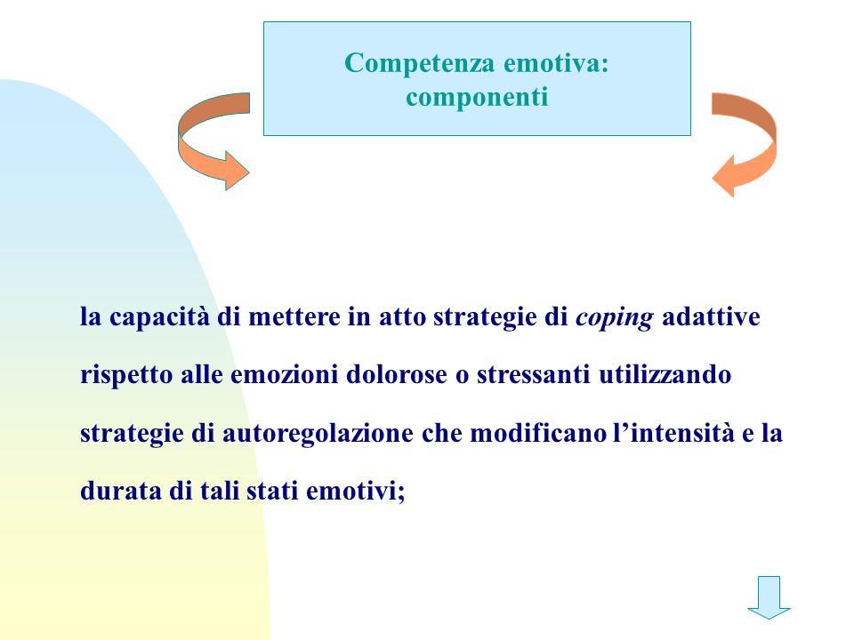 Competenza emotiva: componenti la capacità di mettere in atto strategie di coping adattive rispetto alle emozioni dolorose o stressanti utilizzando st