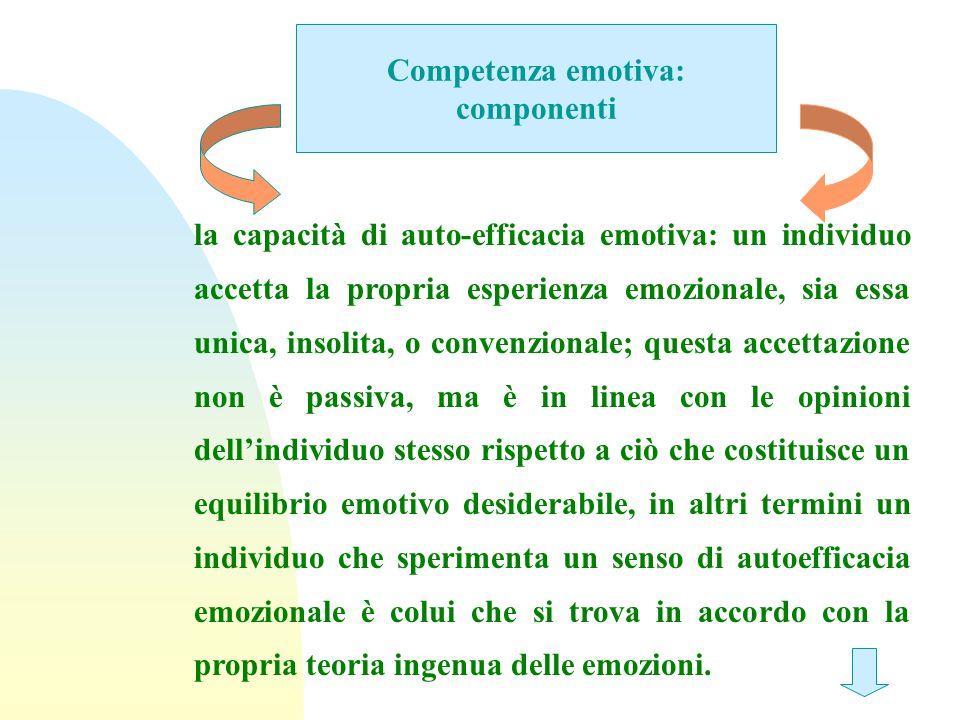 Competenza emotiva: componenti la capacità di auto-efficacia emotiva: un individuo accetta la propria esperienza emozionale, sia essa unica, insolita,