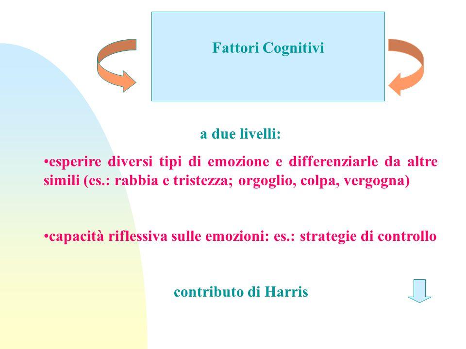 Fattori Cognitivi a due livelli: esperire diversi tipi di emozione e differenziarle da altre simili (es.: rabbia e tristezza; orgoglio, colpa, vergogn