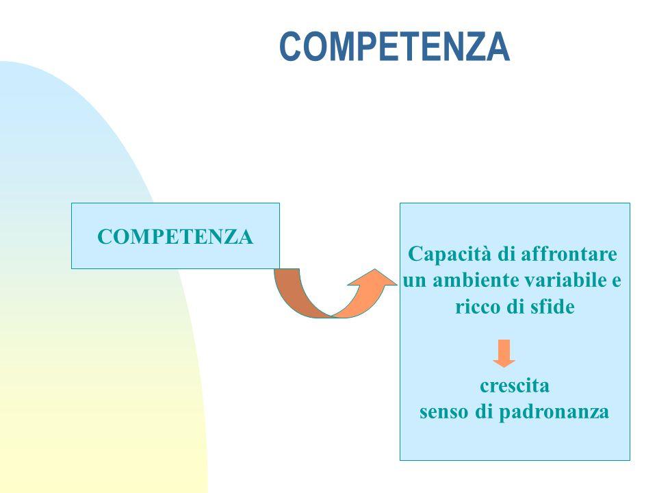 COMPETENZA Capacità di affrontare un ambiente variabile e ricco di sfide crescita senso di padronanza