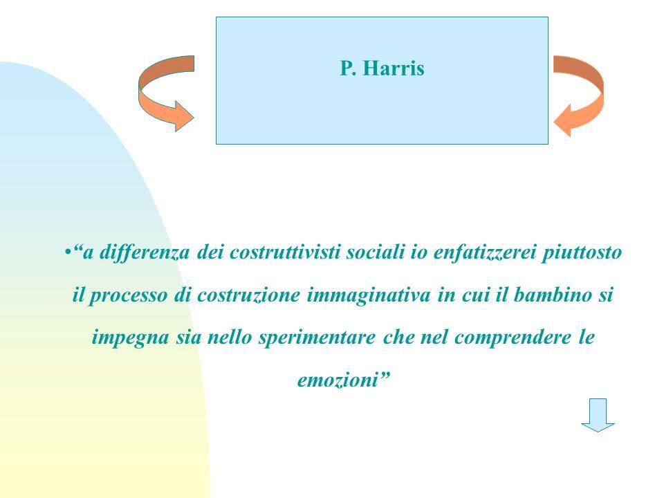 P. Harris a differenza dei costruttivisti sociali io enfatizzerei piuttosto il processo di costruzione immaginativa in cui il bambino si impegna sia n