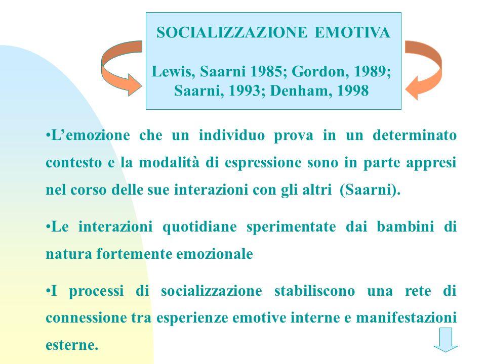 SOCIALIZZAZIONE EMOTIVA Lewis, Saarni 1985; Gordon, 1989; Saarni, 1993; Denham, 1998 Lemozione che un individuo prova in un determinato contesto e la