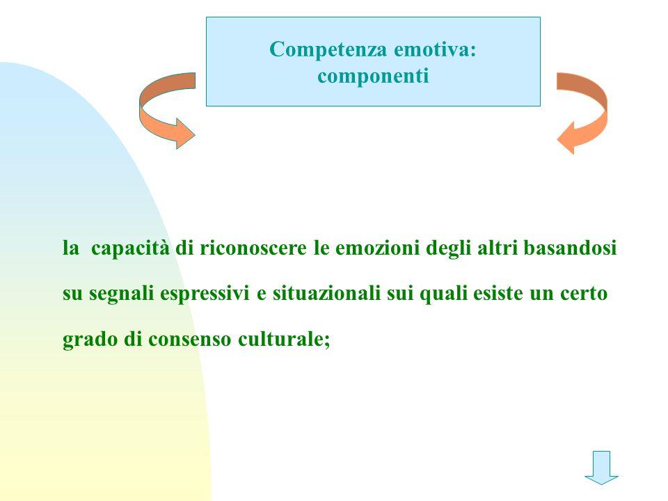 Competenza emotiva: componenti la capacità di riconoscere le emozioni degli altri basandosi su segnali espressivi e situazionali sui quali esiste un c