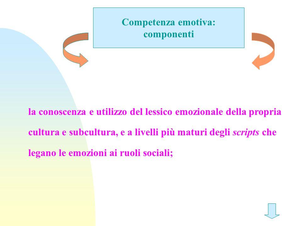 Competenza emotiva: componenti la conoscenza e utilizzo del lessico emozionale della propria cultura e subcultura, e a livelli più maturi degli script
