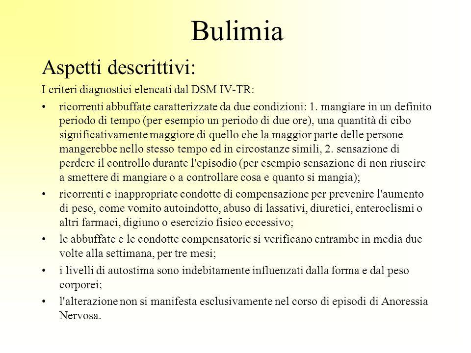 Bulimia Aspetti descrittivi: I criteri diagnostici elencati dal DSM IV-TR: ricorrenti abbuffate caratterizzate da due condizioni: 1. mangiare in un de