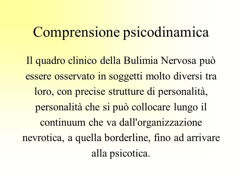 Il quadro clinico della Bulimia Nervosa può essere osservato in soggetti molto diversi tra loro, con precise strutture di personalità, personalità che