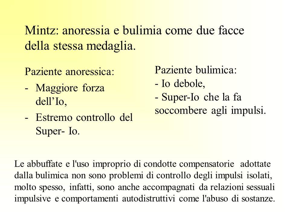 Mintz: anoressia e bulimia come due facce della stessa medaglia. Paziente anoressica: -Maggiore forza dellIo, -Estremo controllo del Super- Io. Pazien