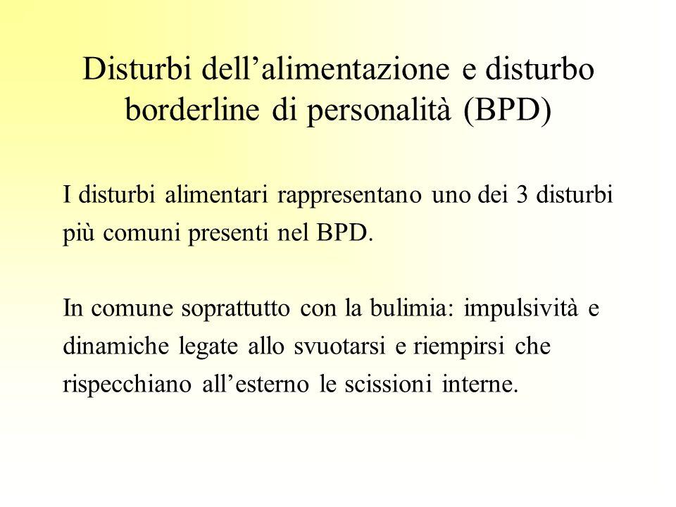 Disturbi dellalimentazione e disturbo borderline di personalità (BPD) I disturbi alimentari rappresentano uno dei 3 disturbi più comuni presenti nel B