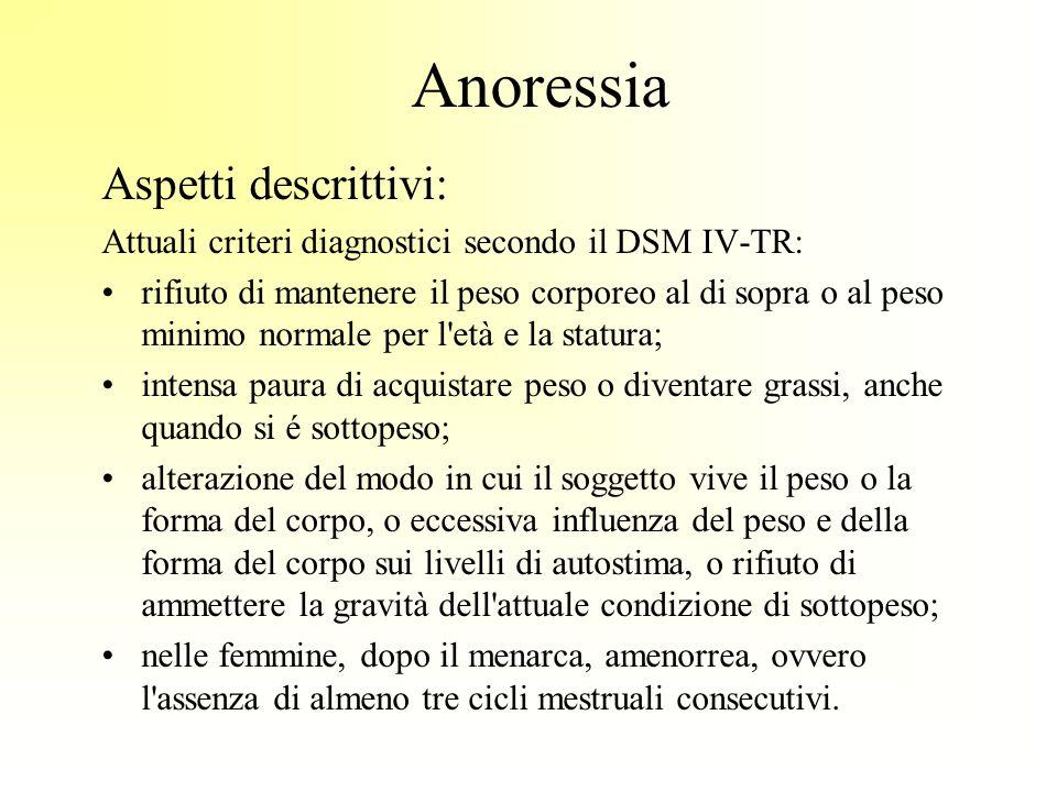 Anoressia Aspetti descrittivi: Attuali criteri diagnostici secondo il DSM IV-TR: rifiuto di mantenere il peso corporeo al di sopra o al peso minimo no
