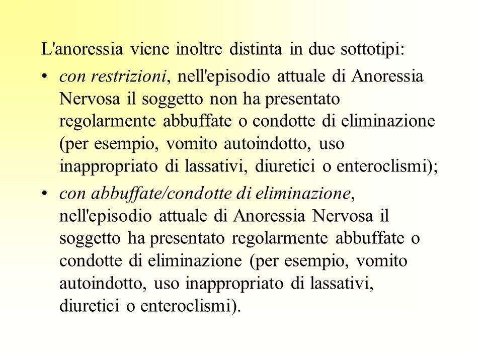 L'anoressia viene inoltre distinta in due sottotipi: con restrizioni, nell'episodio attuale di Anoressia Nervosa il soggetto non ha presentato regolar