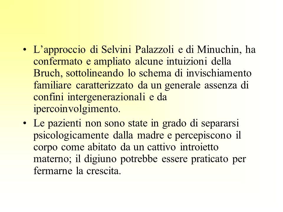 Lapproccio di Selvini Palazzoli e di Minuchin, ha confermato e ampliato alcune intuizioni della Bruch, sottolineando lo schema di invischiamento famil