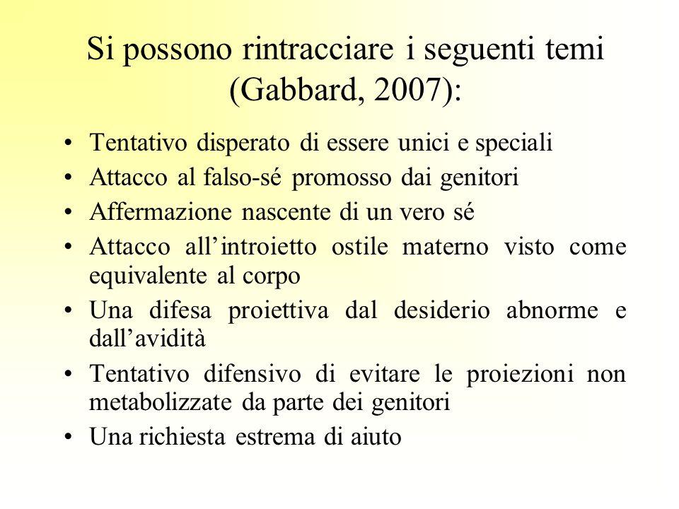 Si possono rintracciare i seguenti temi (Gabbard, 2007): Tentativo disperato di essere unici e speciali Attacco al falso-sé promosso dai genitori Affe
