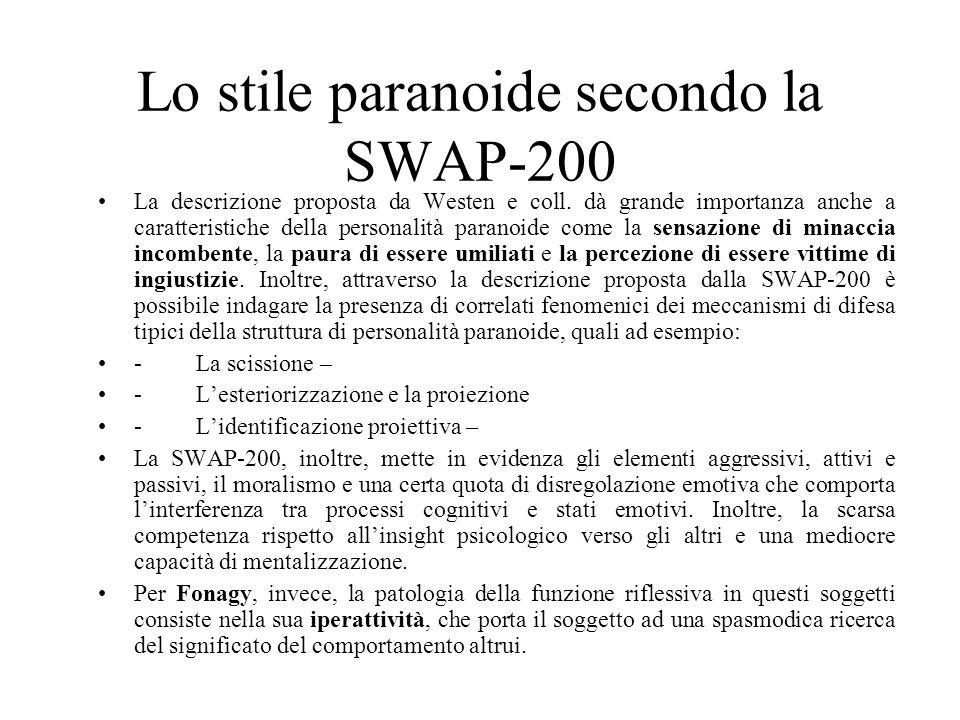 Lo stile paranoide secondo la SWAP-200 La descrizione proposta da Westen e coll.