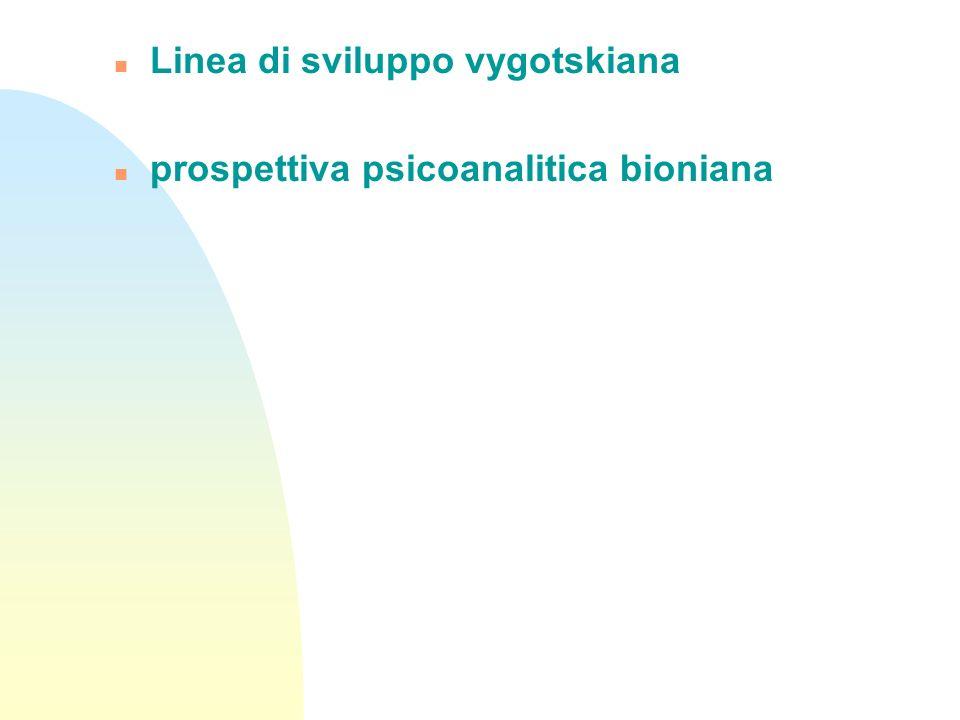 n Linea di sviluppo vygotskiana n prospettiva psicoanalitica bioniana