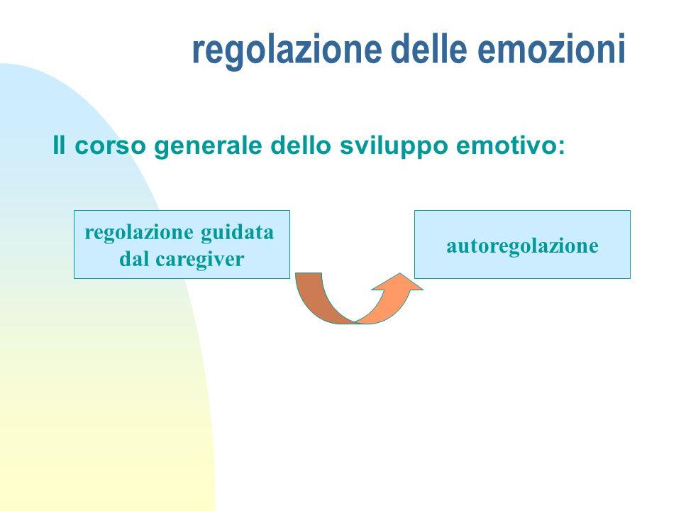 regolazione delle emozioni Il corso generale dello sviluppo emotivo: regolazione guidata dal caregiver autoregolazione