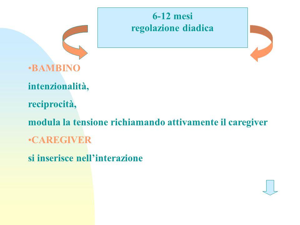 6-12 mesi regolazione diadica BAMBINO intenzionalità, reciprocità, modula la tensione richiamando attivamente il caregiver CAREGIVER si inserisce nell