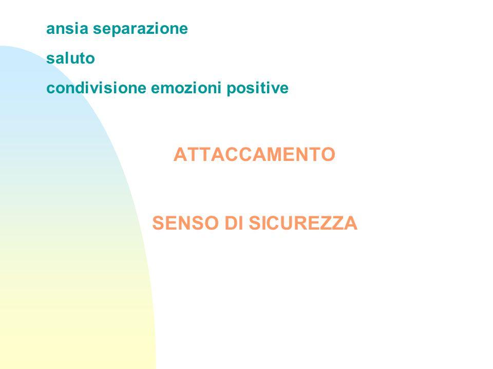 ansia separazione saluto condivisione emozioni positive ATTACCAMENTO SENSO DI SICUREZZA