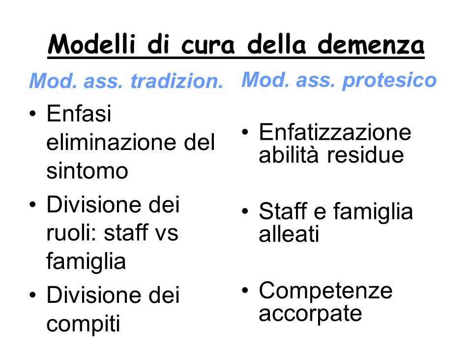Modelli di cura della demenza Mod. ass. tradizion. Cura dei sintomi Enfatizz. Efficienza Staff emotivamamente distaccato Strategie intensive Dualismo