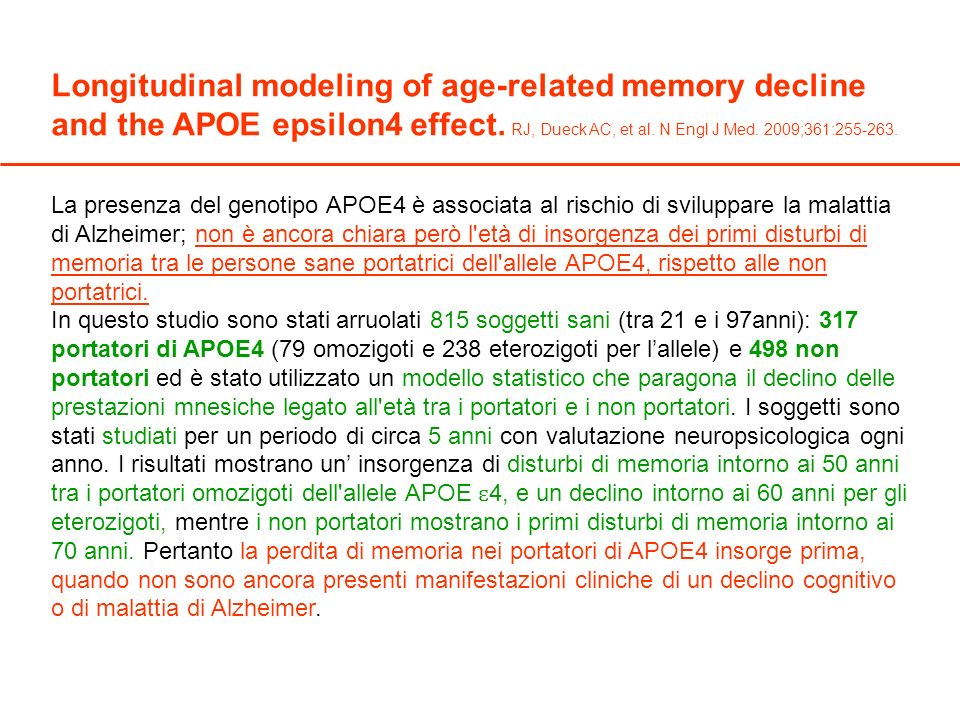 Longitudinal modeling of age-related memory decline and the APOE epsilon4 effect.