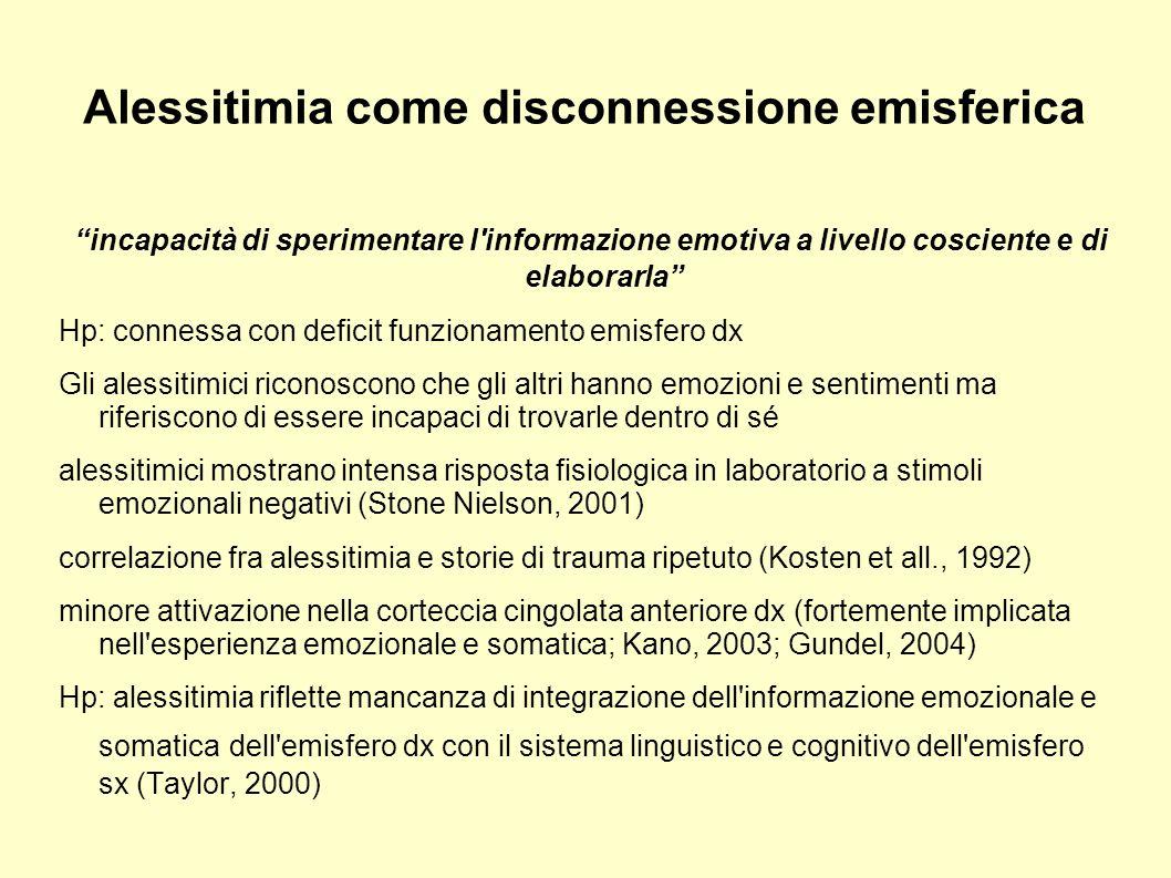 Alessitimia come disconnessione emisferica incapacità di sperimentare l'informazione emotiva a livello cosciente e di elaborarla Hp: connessa con defi