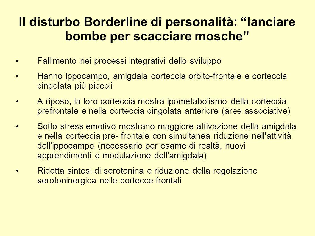 Il disturbo Borderline di personalità: lanciare bombe per scacciare mosche Fallimento nei processi integrativi dello sviluppo Hanno ippocampo, amigdal